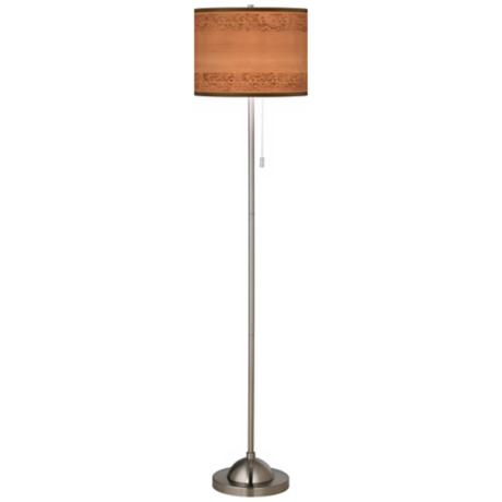 Paisley Trim Giclee Shade Brushed Nickel Contemporary Floor Lamp