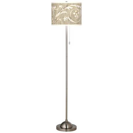 Laurel Court Giclee Shade Brushed Nickel Contemporary Floor Lamp