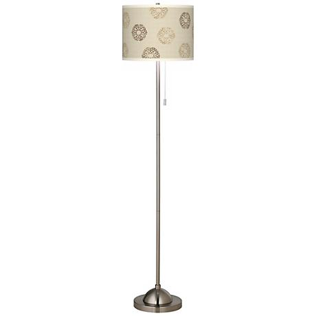 Sand Medallion Brushed Nickel Floor Lamp