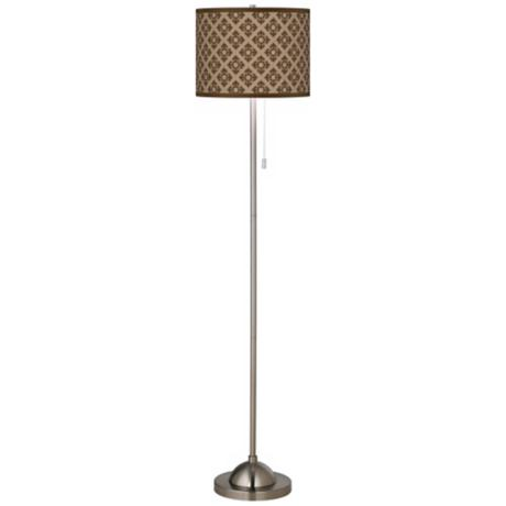 Grevena Giclee Shade Brushed Nickel Floor Lamp