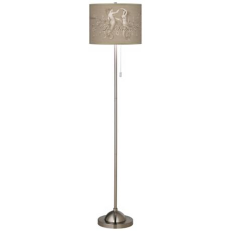 Les Sirenes Natural Giclee Contemporary Floor Lamp