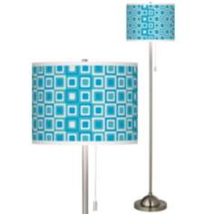 Blue Boxes Linen Giclee  Contemporary Floor Lamp