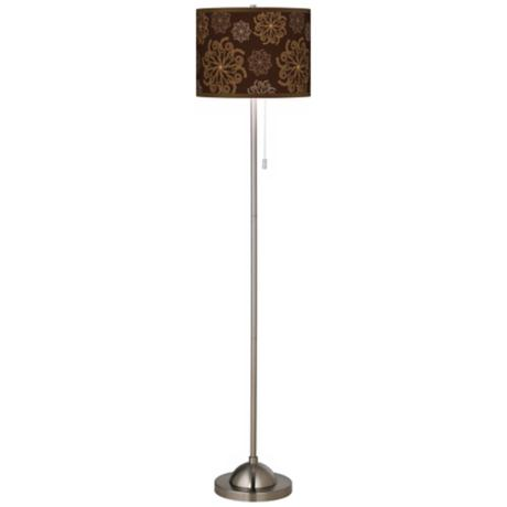 Chocolate Blossom Linen Giclee Contemporary Floor Lamp