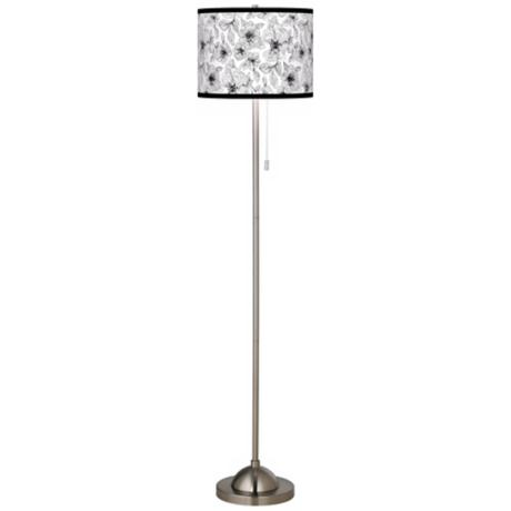 Stacy Garcia Linear Floral Brushed Nickel Contemporary Floor Lamp