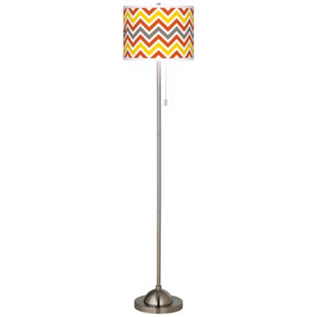 Flame Zig Zag Giclee Brushed Nickel Floor Lamp