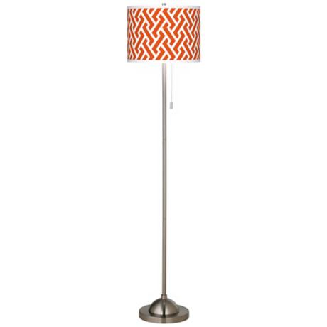 Red Brick Weave Giclee Brushed Nickel Floor Lamp