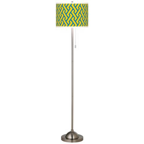Yellow Brick Weave Giclee Brushed Nickel Floor Lamp
