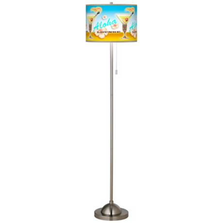 Aloha Lounge Giclee Brushed Nickel Floor Lamp