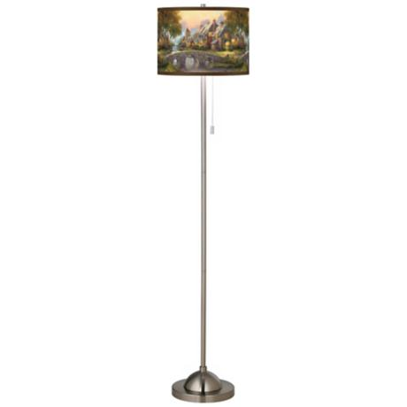 Thomas Kinkade Cobblestone Bridge Nickel Floor Lamp