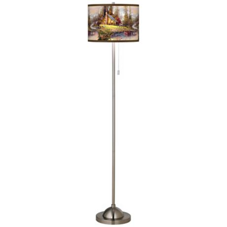 Thomas Kinkade A Peaceful Retreat Giclee Nickel Floor Lamp
