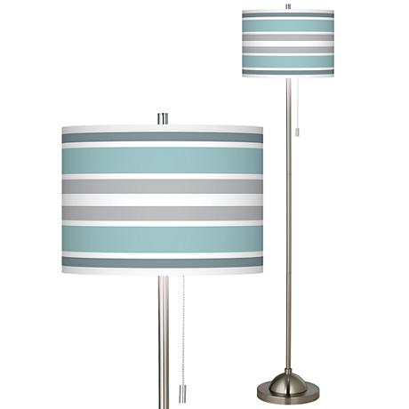 Multi Color Stripes Giclee Brushed Nickel Floor Lamp