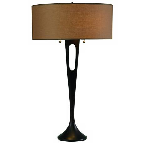 Lights Up! French Mod Bronze Cocoa Chintz Table Lamp