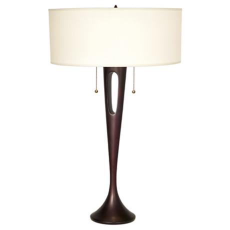 Lights Up! French Mod Bronze Ivory Ipanema Table Lamp