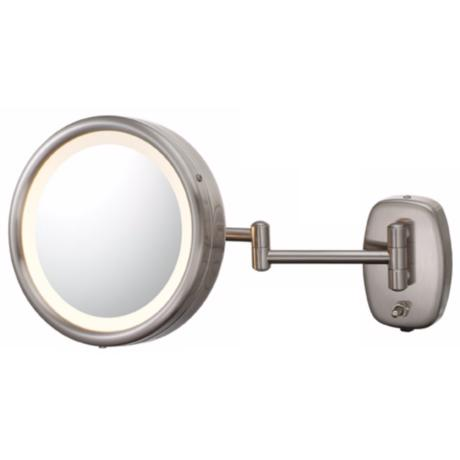 Brushed Nickel Plug-In Swing Arm Lighted Vanity Mirror