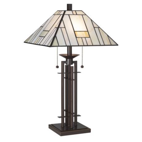Franklin Iron Works®  Wrought Iron Tiffany-Style Table Lamp