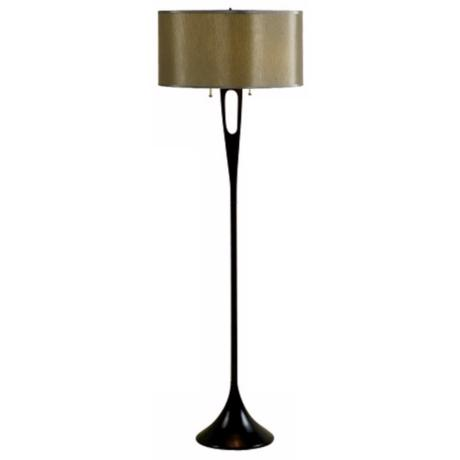 Lights Up! French Mod Bronze and Driftwood Silk Floor Lamp