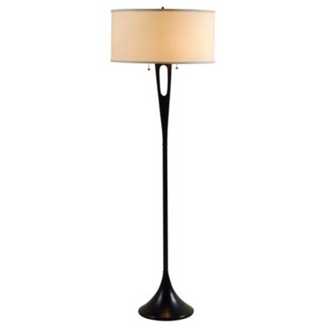 Lights Up! French Mod Dark Bronze Ivory Shade Floor Lamp