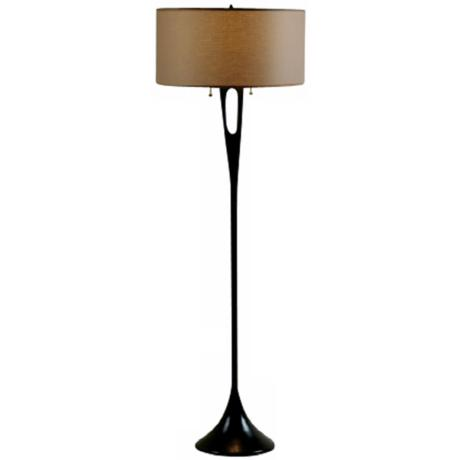 Lights Up! French Mod Bronze with Cocoa Shade Floor Lamp