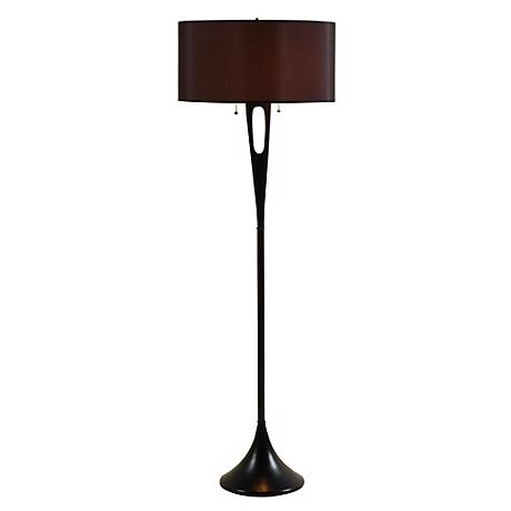 Lights Up! French Mod Bronze with Black  Shade Floor Lamp