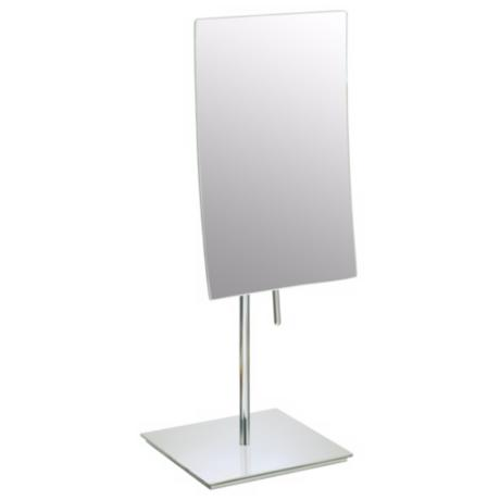 Brushed Nickel Finish Minimalist Vanity Stand Mirror