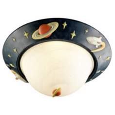 "Glow-in-the-Dark Rocket Ship 14"" Wide Ceiling Light"