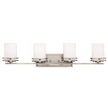 "Hendrik Nickel 34"" Wide Bathroom Light Fixture"