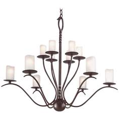 "Avalon Hand-Forged Iron 37"" Wide 12-Light Chandelier"