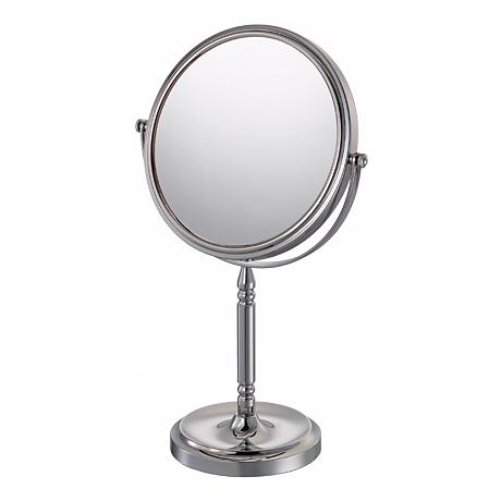 "Chrome Recessed Base Vanity Stand 13 3/4"" High Mirror"