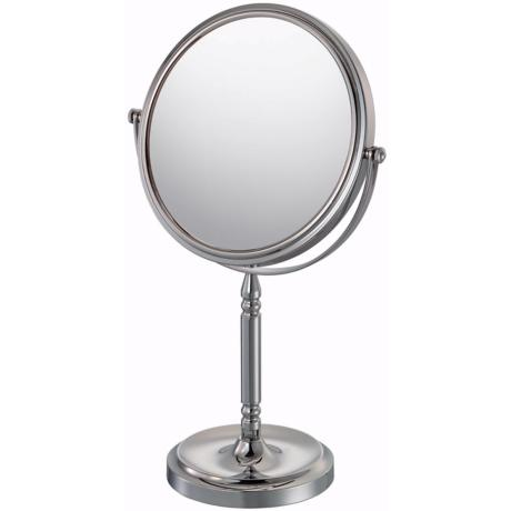 "Chrome Finish Recessed Base Vanity Stand 15"" High Mirror"