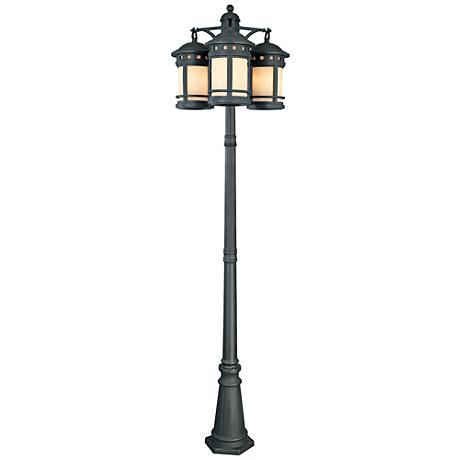 "Sedona 86"" High 3-Lantern Oiled Bronze Outdoor Post Light"