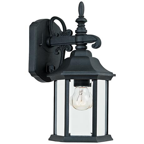 "Devonshire 14 1/4""H Clear Glass Black Outdoor Wall Light"