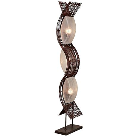 Liam Abstract Bamboo and Metal Floor Lamp