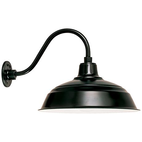 "Warehouse 10""H Black Cage Gooseneck Outdoor Wall Light"