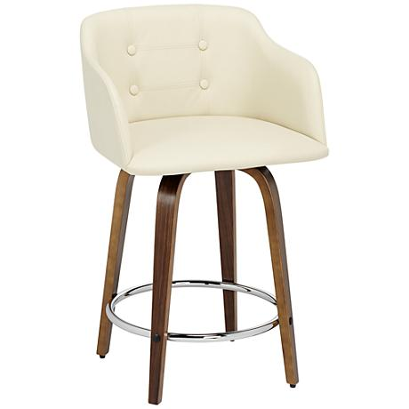 "Laveno 24"" Cream Faux Leather Counter Stool"