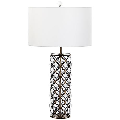 corsica tall iron lattice overlay clear glass table lamp 9c482. Black Bedroom Furniture Sets. Home Design Ideas