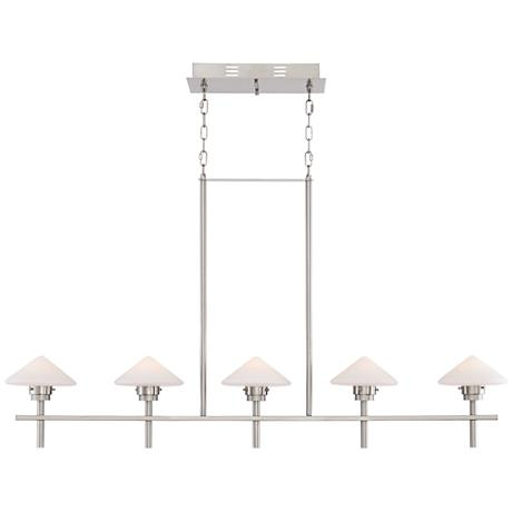 "Possini Euro Kanan 50 1/2""W Satin Nickel Island Chandelier"
