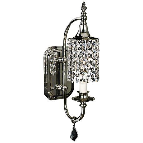 "Princessa Polished Silver 17"" HIgh Wall Sconce"