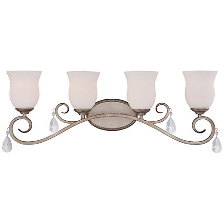 "Gala 31"" Wide Argent Silver 4-Light Satin Bath Light"