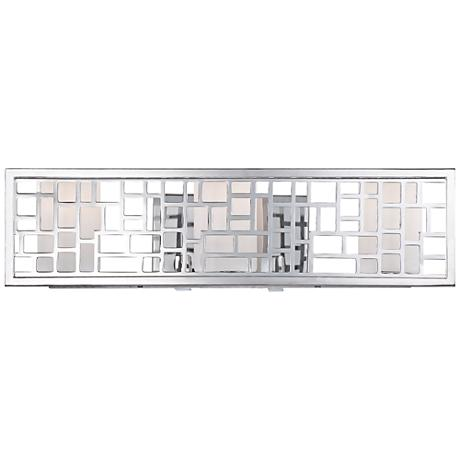 "Trellis 22"" Wide 3-Light Frosted Glass Chrome Bath Light"