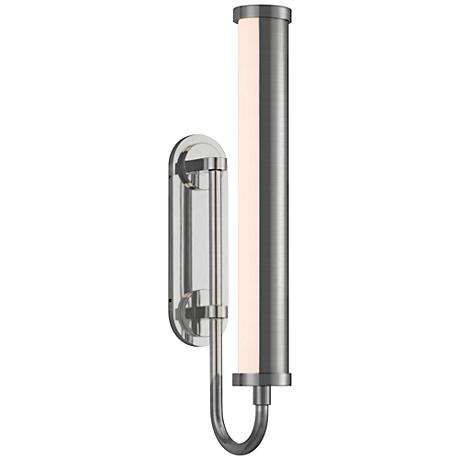 "Bauhaus Revisited Rohr 18"" High Satin Chrome LED Wall Sconce"