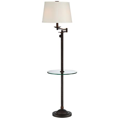 Seeri 2 tone adjustable height floor lamp n9826 www for Swing arm floor lamp with glass tray table