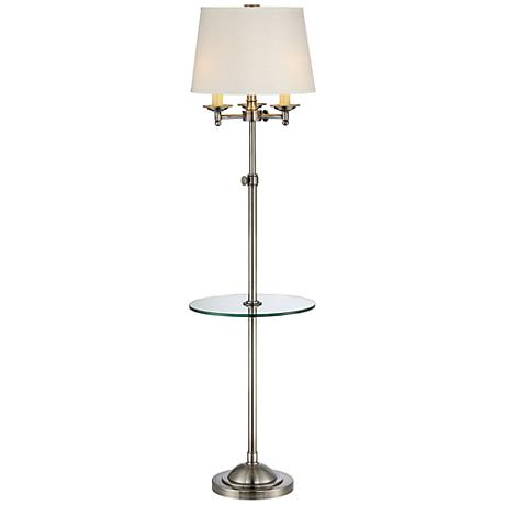 Quoizel Millington Antique Nickel Tray Table Floor Lamp