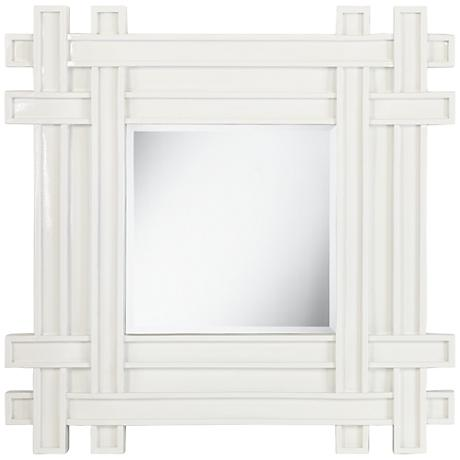 "Intersection Glossy White 31 1/2"" Square Wall Mirror"