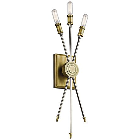"Kichler Doncaster 23"" High Natural Brass 3-Light Wall Sconce"