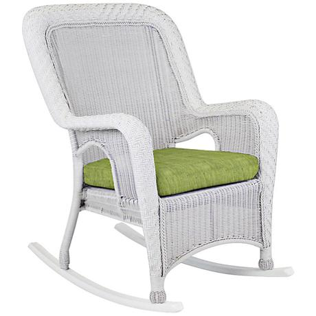 Key West Trinidad Leaf White Outdoor Rocking Armchair