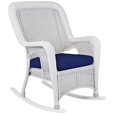 Key West Solar Admiral Rustic White Outdoor Rocking Armchair