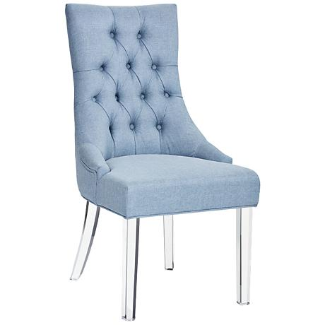 Sonya Ice Blue Fabric and Acrylic Dining Chair