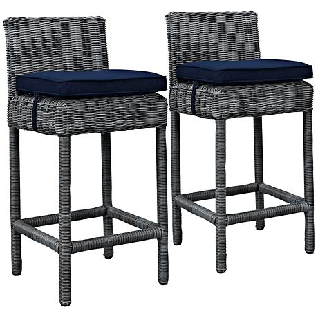 "Summon 28"" Canvas Navy Outdoor Patio Pub Stool Set of 2"