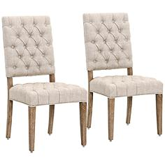 James Bisque Linen and Solid Oak Wood Dining Chair Set of 2