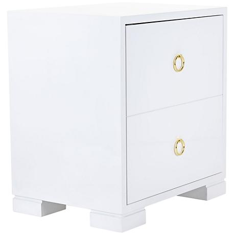 Laila White Lacquer Brass-Ring 1-Door Accent Chest